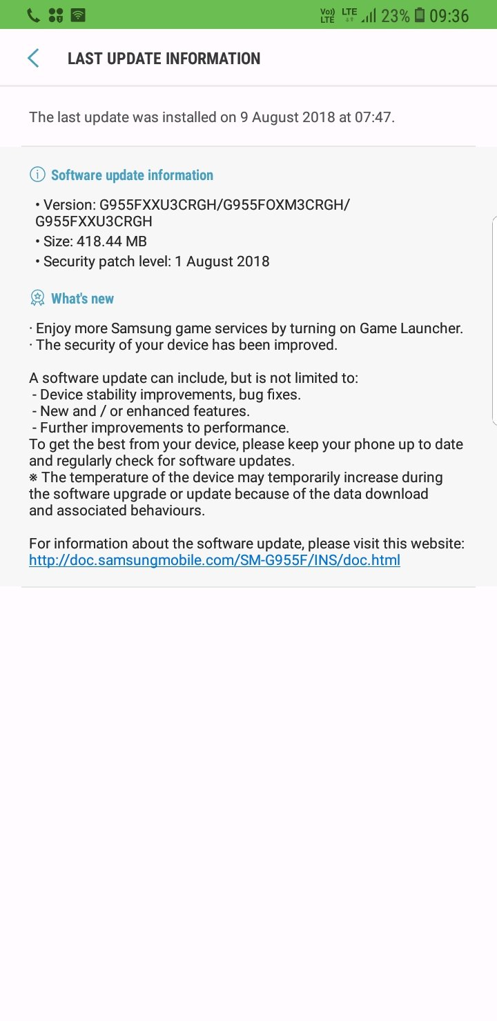 S8+ August Security patch level : 2018-08-01 G955F    - Samsung