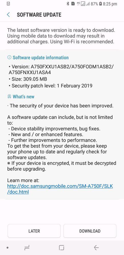 software update for samsung galaxy a7 2018 - Samsung Global EU
