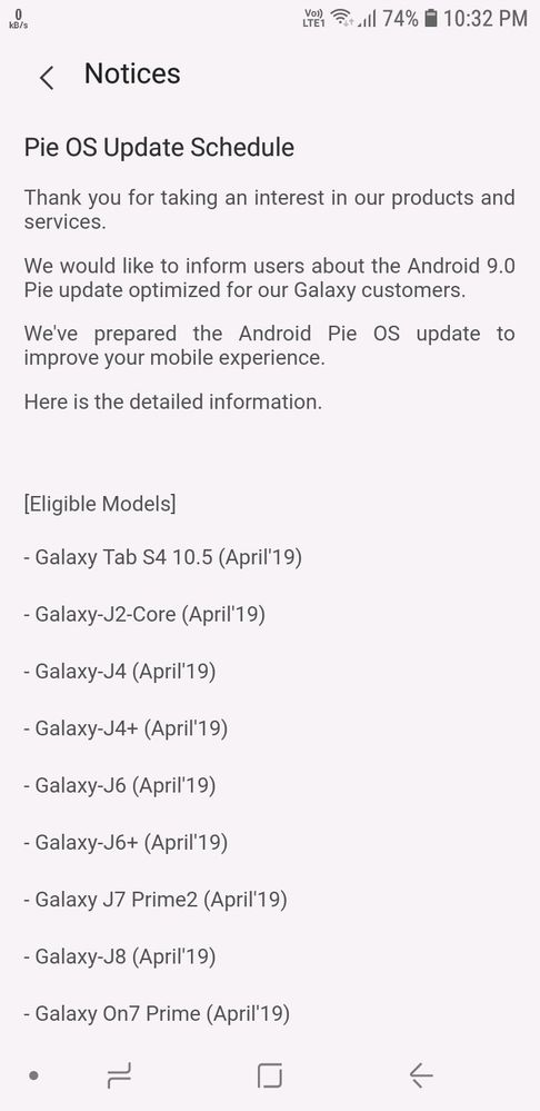 Samsung Pie Update List