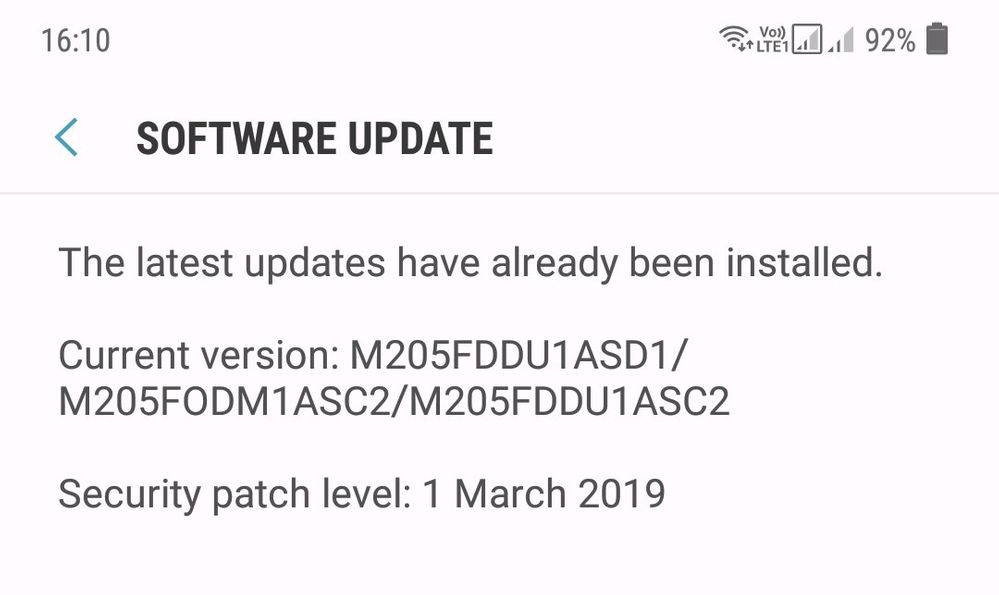 Android Pie Update for Galaxy M20  - Samsung Global EU