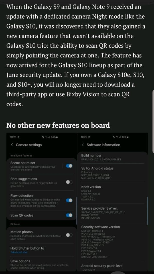 S10 Series-June update adds QR Scanning to Camera
