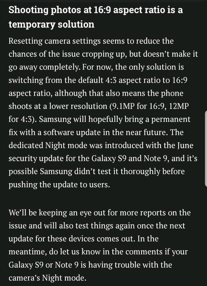 S9/Note 9 camera update has frustrating bug - Samsung Global EU