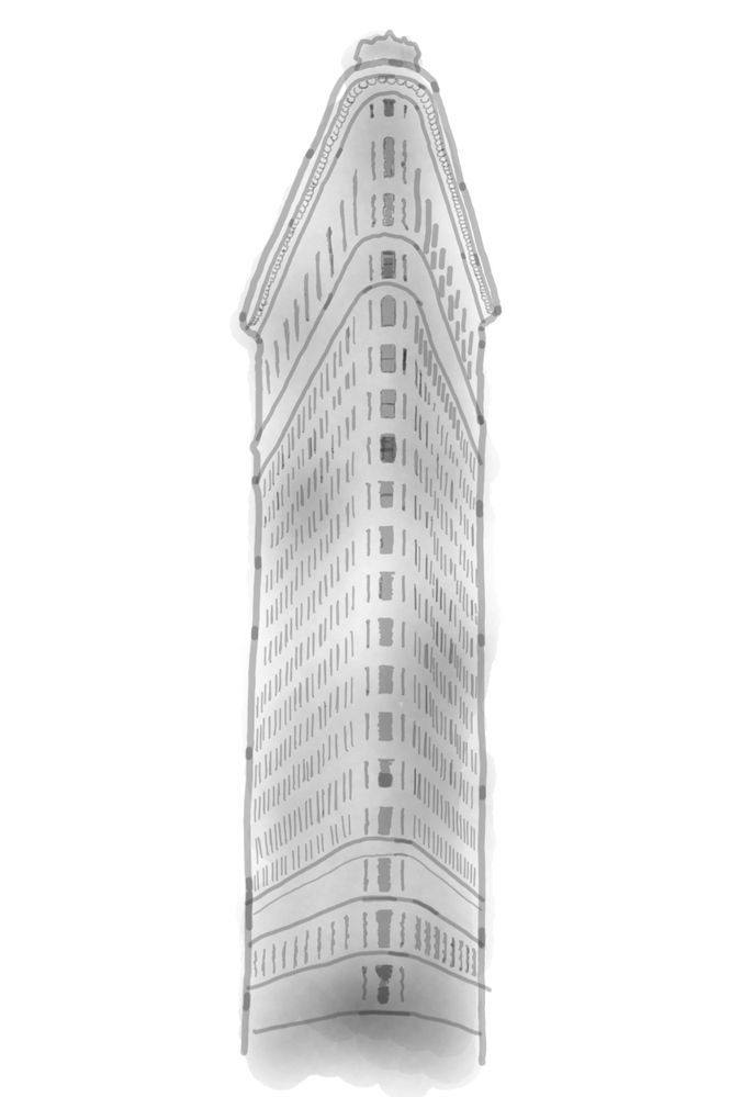 The Flatiron building, drawn using Photo Drawing in Pen Up