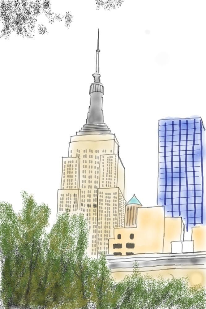The Empire State building as seen from Madison Square Park, drawn using Photo Drawing in Pen Up