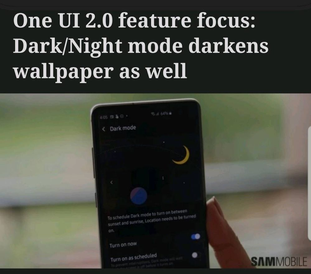 One Ui 2 0 Dark Night Mode Darkens Wallpaper Samsung Members