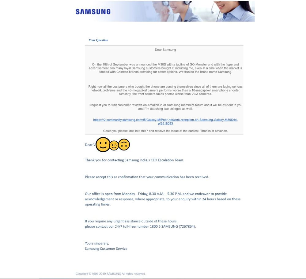 Response from Samsung