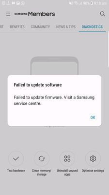 help getting msg firmware not updated in my s7 ed