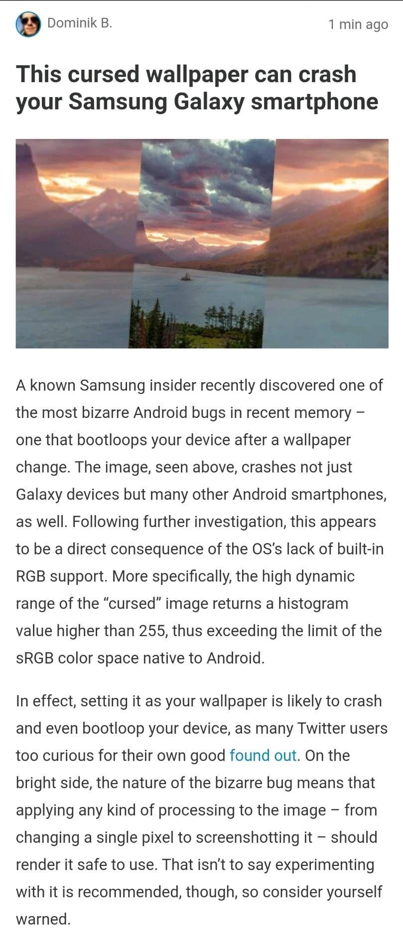 Update On The Crashing Wallpaper Samsung Members